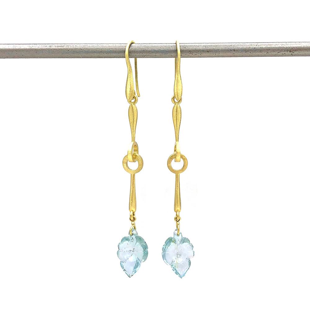 Aquamarine Leaf Long Chain Earrings | 18k Yellow Gold