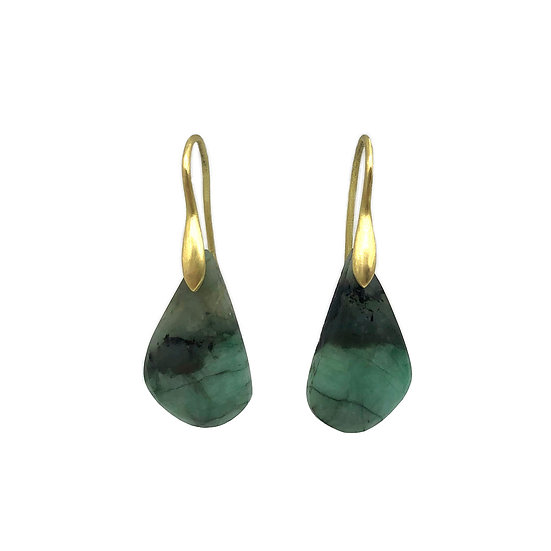 Emerald in Matrix Earrings in 18k Recycled Yellow Gold