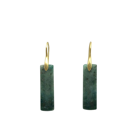 Green Mountain Jade Earrings | 18k Yellow Gold