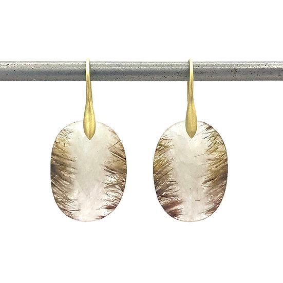 Rutilated Quartz Stripe Earrings | 18k Recycled Yellow Gold