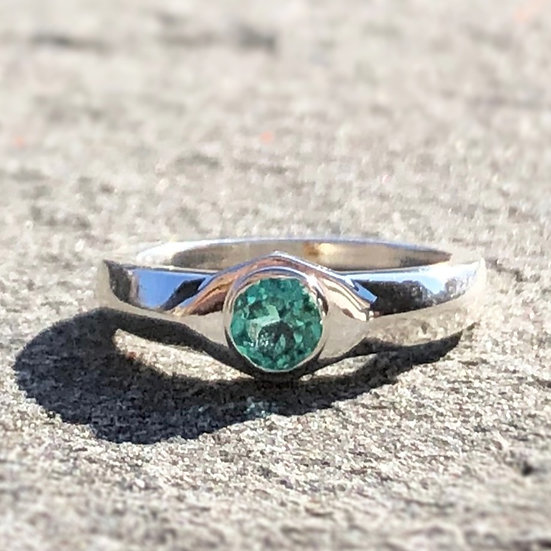 Custom Blue Tourmaline Signet Ring in Sterling Silver