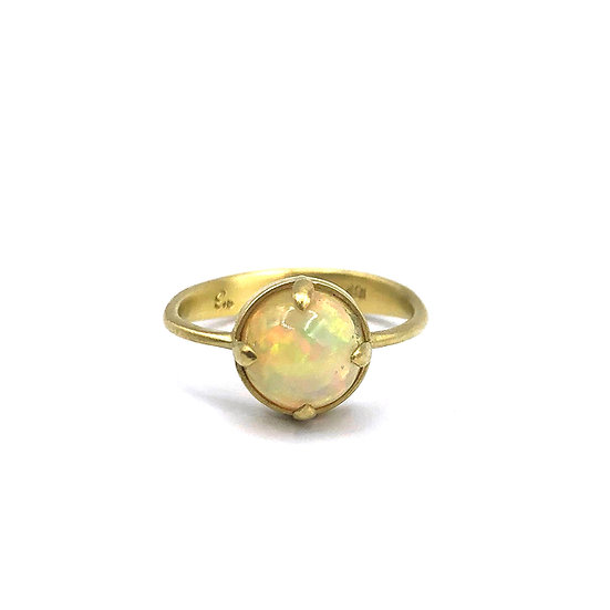 Round Ethiopian Opal Ring | 18k Recycled Yellow Gold