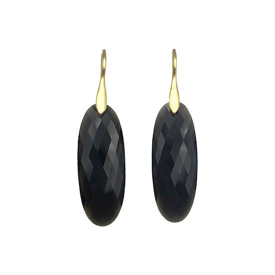Black Onyx Earrings | 18k Yellow Gold