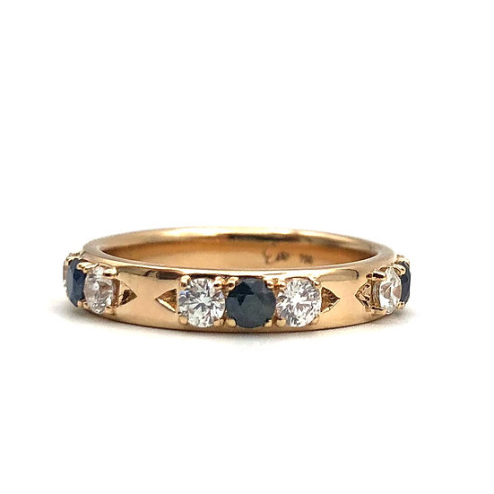 Sapphire and Diamond Heirloom Redesign Band Ring in 18k Recycled Rose Gold