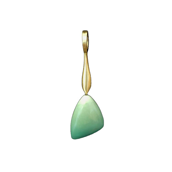 Teal Fossilized Opal Pendant with Drop Component | 18k Yellow Gold