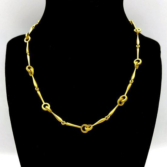 Handmade Chain Amazon Circle Link Necklace in 18k Recycled Yellow Gold 16 inches