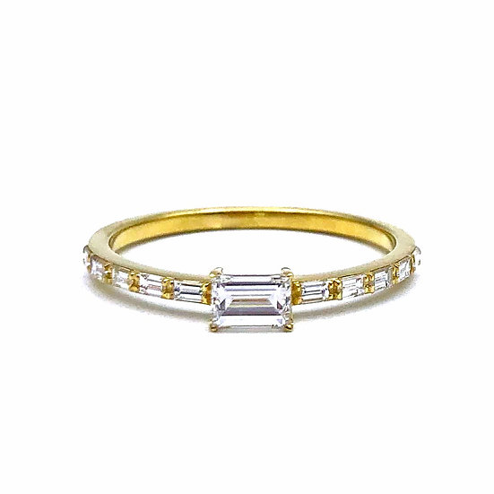 Bespoke Engagement Ring with Baguette Diamonds and East-West Emerald Cut Diamond in 18k Recycled Yellow Gold