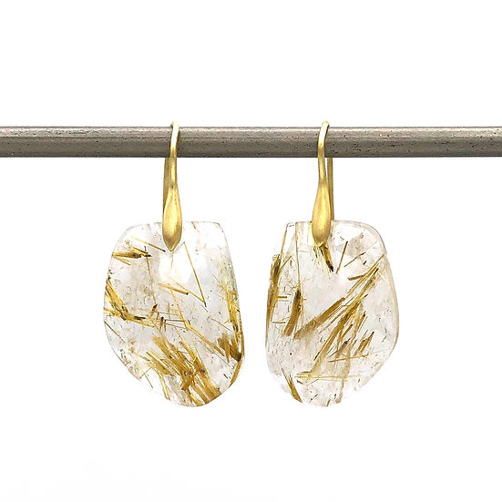 Gold Rutilated Quartz Asymmetrical Earrings in 18k Recycled Yellow Gold