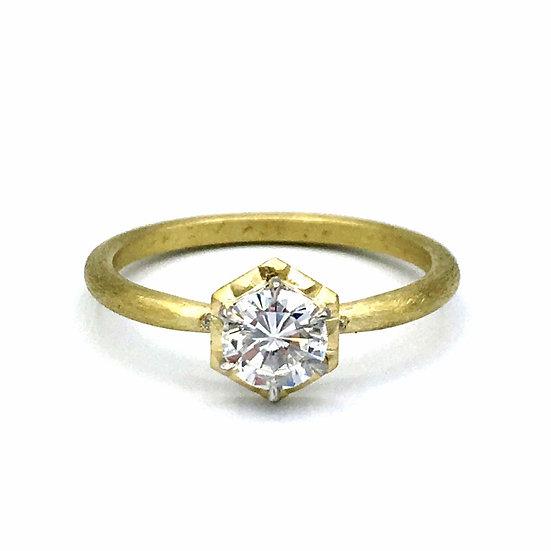 Bespoke Round Brilliant Cut Diamond Engagement Ring with Hexagon Bezel  in Gold Using Heirloom Diamond