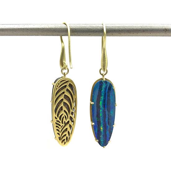 Jungle Opal Earrings | 18k Yellow Gold