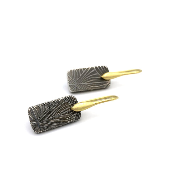 Damascus Meteorite Earrings in 18k Recycled Yellow Gold