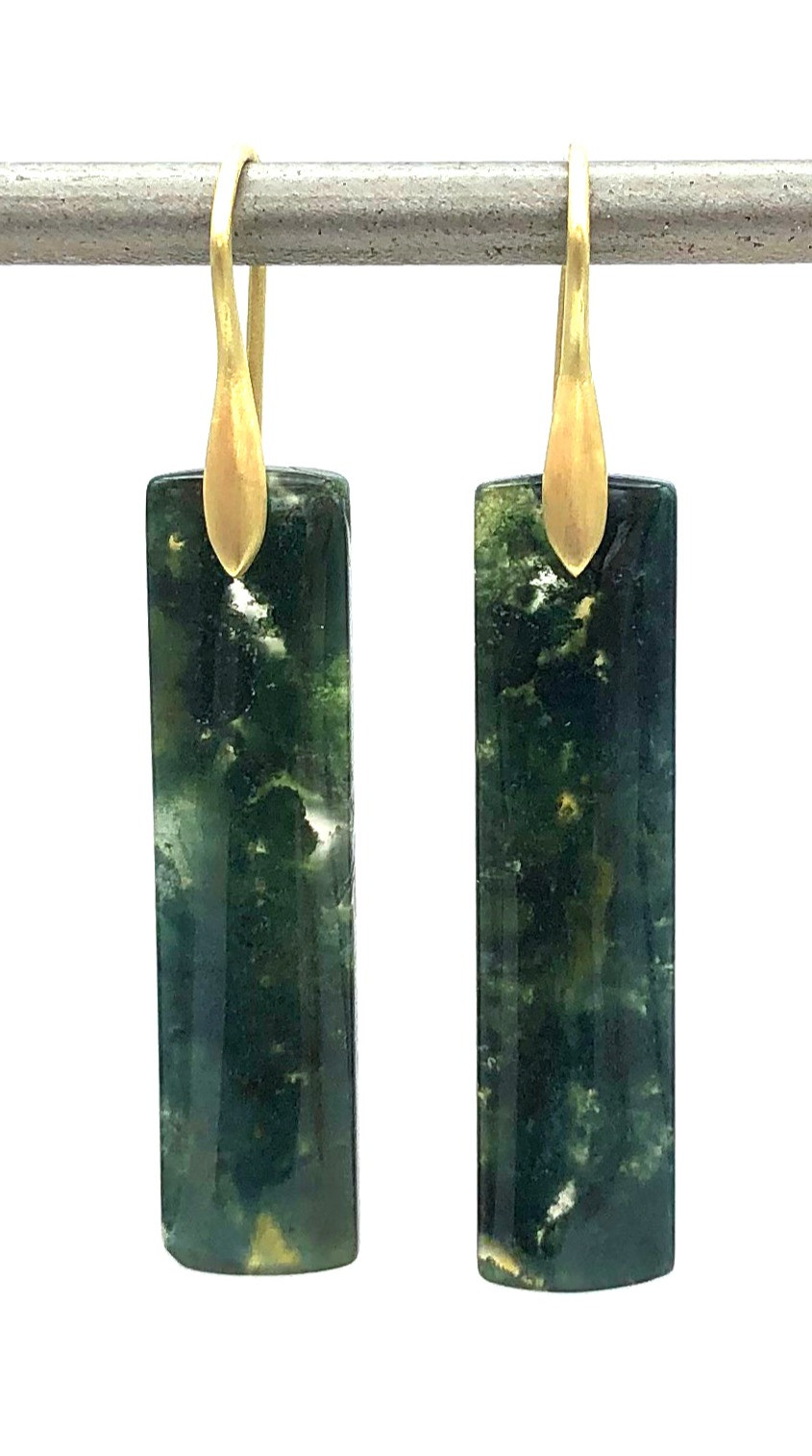 Moss Agate Earrings | 18k Yellow Gold