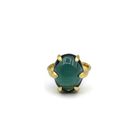 Amazon Green Tourmaline Ring | 18k Yellow Gold