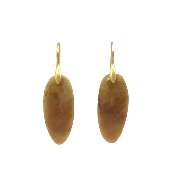 Orange Sapphire Rose-Cut Slice Earrings in 18k Recycled Yellow Gold