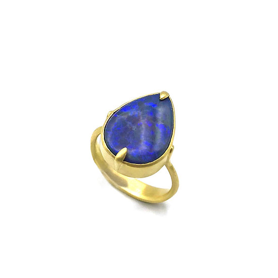 Pear-Shaped Blue Opal Amazon Ring | 18k Yellow Gold