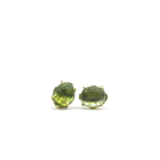 Custom Oval Green Tourmaline Cabochon Earrings in 18k Recycled Yellow Gold.