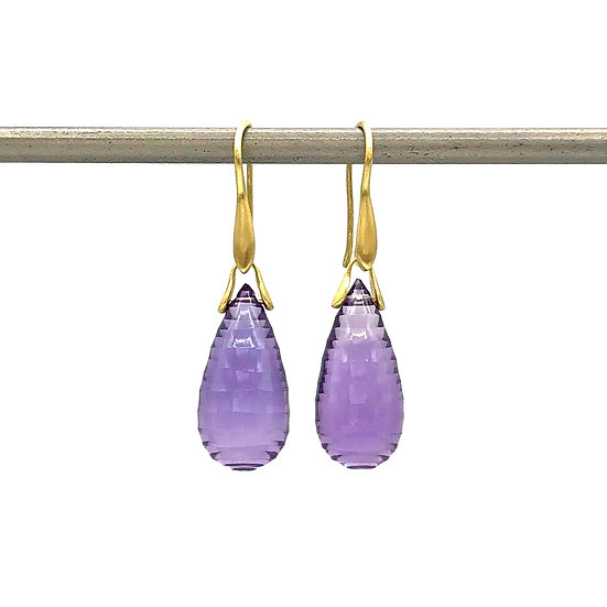 Tear Drop Carved Amethyst Trapeze Earrings | 18k Recycled Yellow Gold
