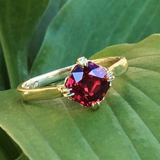 Cushion Cut Ruby Custom Engagement Ring_