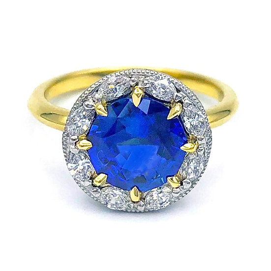 Bespoke Round Sapphire Engagement Ring with Diamond Halo in 18k Yellow Gold and Platinum
