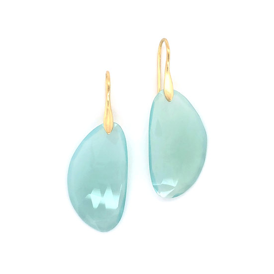 Blue Chalcedony Half-Circle Earrings in 18k Recycled Yellow Gold