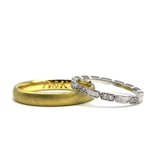 Custom Diamond Eternity Band in Platinum with Engraving Detail with Custom Men's Wedding Band