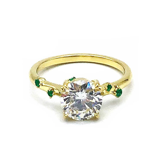Bespoke Diamond Engagement Ring with Colombian Emerald Sprinkle in 18k Recycled Yellow Gold