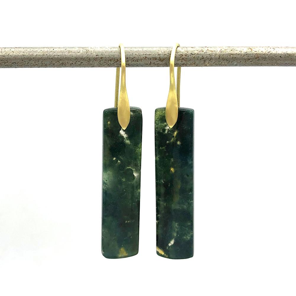Moss Agate Earrings | 18k Yellow Gold
