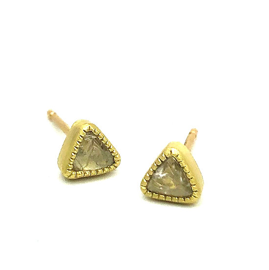 Diamond Rough Triangle Macle Stud Earrings | 18k Yellow Gold
