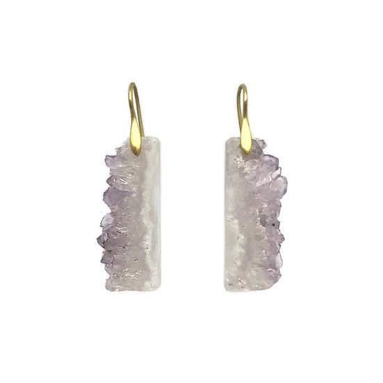Geode Slice Earrings | 18k Yellow Gold