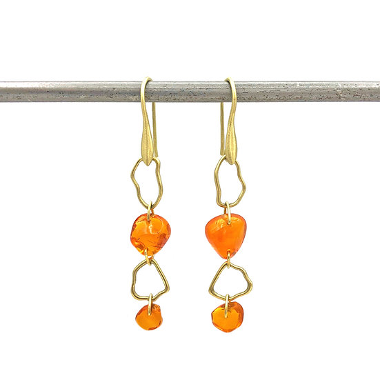 Fire Opal Earrings in 18k Recycled Yellow Gold