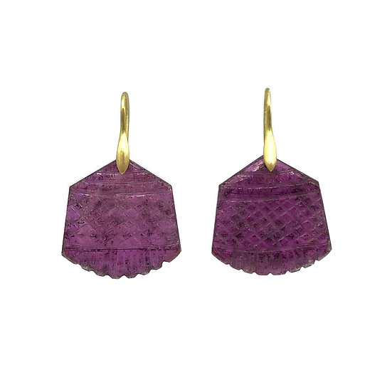 Carved Raspberry Tourmaline Earrings in 18k Recycled Yellow Gold