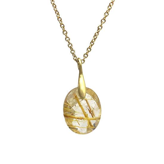 Rutilated Ribbon Pendant | 18k Yellow Gold