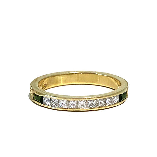 Bespoke Princess Cut Diamond and Green Tourmaline Baguette Channel Set Ring with Modern Wheat Pattern Engraving in 18k
