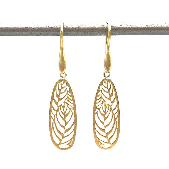 Everyday Gold Dangle Earrings Leaf Earrings in 18k Recycled Yellow Gold