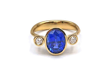 Custom Sapphire and Old European Diamond Ring