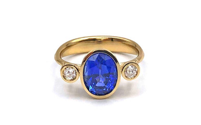 Custom Sapphire and Old European Diamond Ring