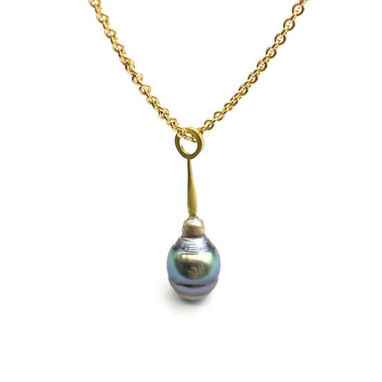 Purple-Green Tahitian Pearl Pendant  | 18k Recycled Yellow Gold | 12mm