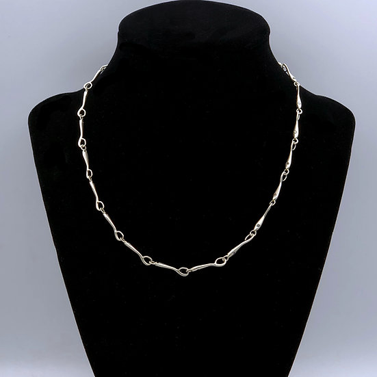 Handmade Silver and Diamond Chain Necklace | 16 in