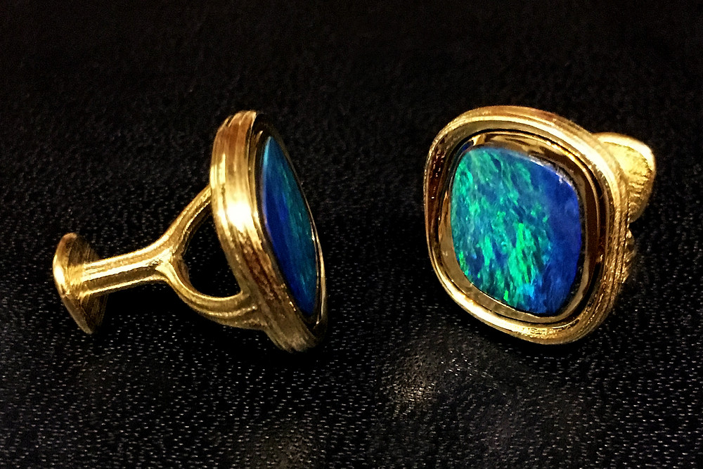 Azore Series Opal and Meteorite Cufflinks--For Sale. Inquire!