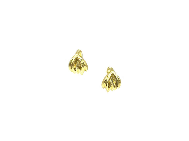 Gold Woven Huggie Earring Stud Earrings in 18k Reycled Yellow Gold