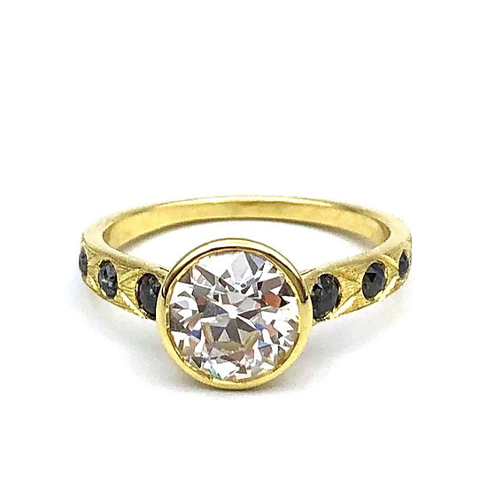 Bespoke Old European Cut Diamond Ring with Rose Cut Black Diamond and Hand Engraved Detail in 18k Recycled Yellow Gold