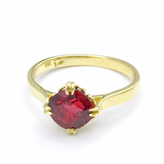 Bespoke Cushion Cut Ruby Ring Set on Axis with Scroll Pattern Basket and Personalized Engraving in 18k Recycled Yellow Gold