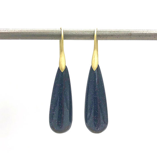 Sparkly Blue Goldstone Earrings | 18k Recycled Yellow Gold
