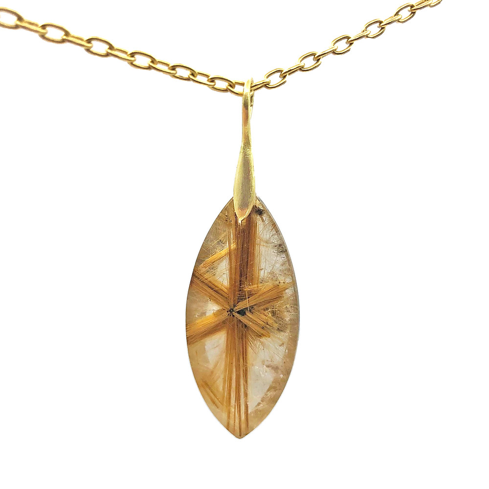 Star Rutilated Quartz Pendant | 18k Yellow Gold