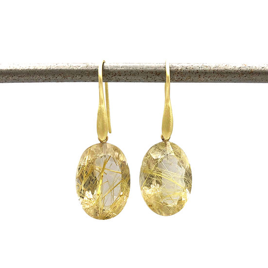 Oval Brilliant Rutilated Quartz Earrings | 18k Yellow Gold