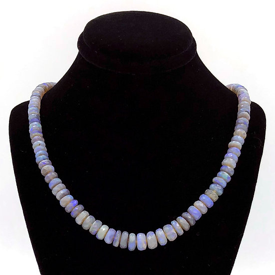 Purple Australian Opal Strand Necklace in 18k Recycled Yellow Gold 18 inches