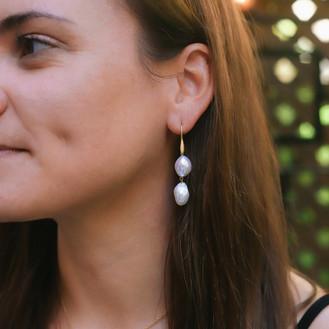 Double Drop Baroque Pearl Earring Model Shot