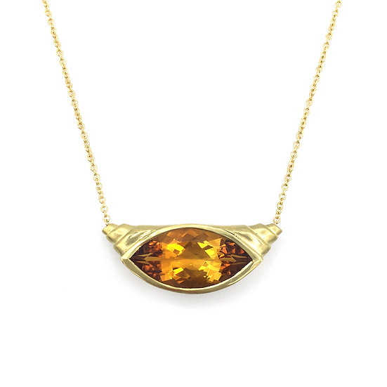 Bespoke Marquise Citrine Croissant Pendant in 18k Recycled Yellow Gold