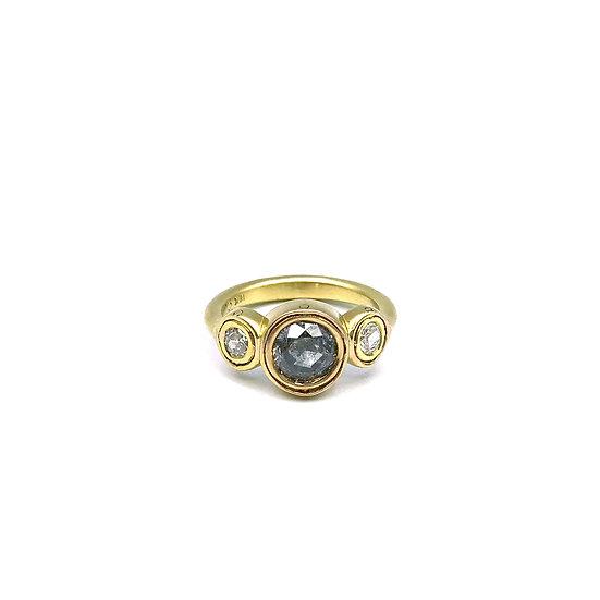 Gray Galaxy Rose Nouveau Diamond Ring in 18k Yellow Gold