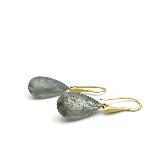 Moss Aquamarine Drop Earrings in 18k Recycled Yellow Gold
